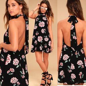 Lulu's Floral Halter Dress Just For Me Backless
